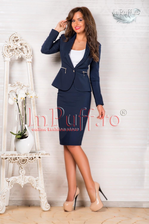 Costum dama bleumarin elegant