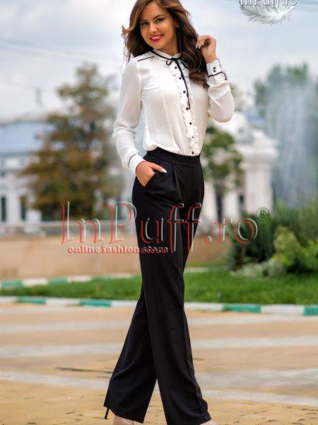 Pantaloni negri eleganti cu talie inalta
