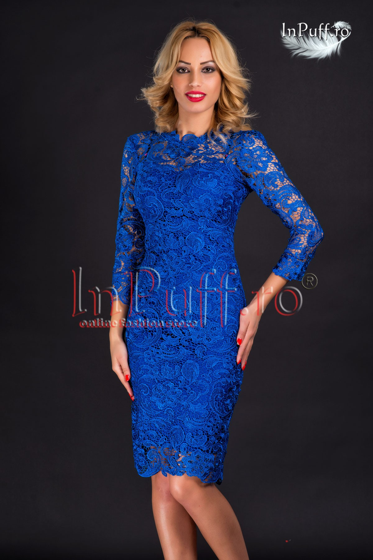 Rochie de seara midi broderie albastra