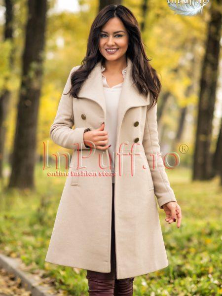 Palton dama elegant bej