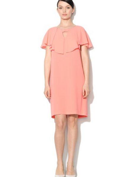 Rochie roz somon cu guler capa