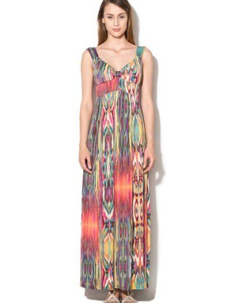 Rochie maxi multicolora cu imprimeu abstract