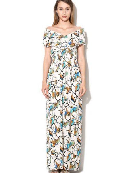 Rochie maxi alba cu imprimeu cu pasari