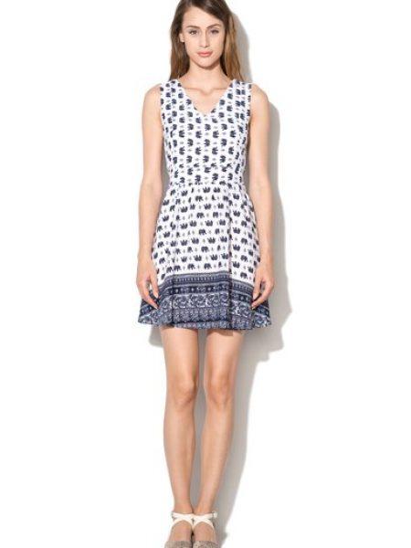 Rochie alb cu bleumarin cu imprimeu