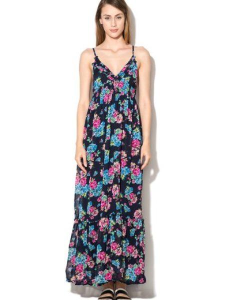 Rochie maxi bleumarin cu imprimeu floral
