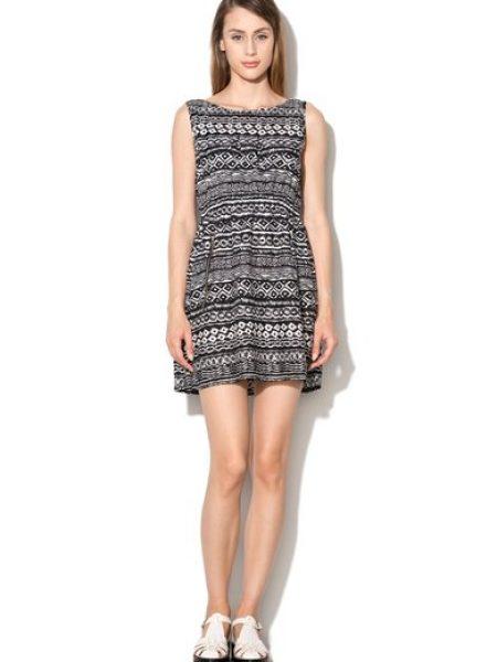 Rochie negru cu alb cu imprimeu