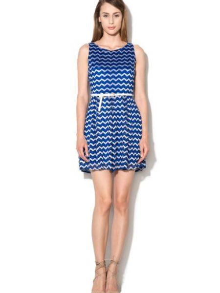 Rochie albastru cu alb de dantela cu model zig-zag