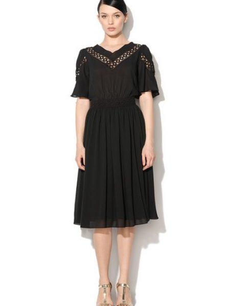 Rochie transparenta neagra cu detalii crosetate
