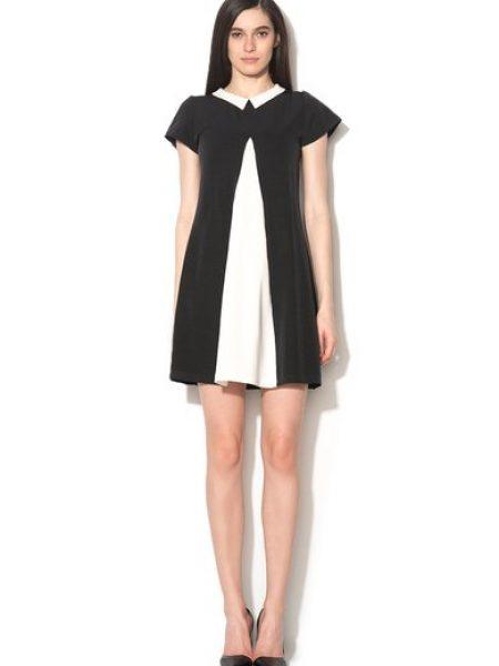 Rochie negru cu alb cu croiala in A