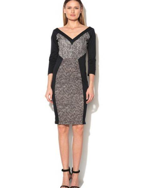 Rochie negru cu gri cu imprimeu