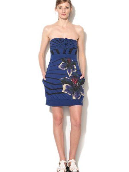 Rochie albastru inchis mulata cu imprimeu floral