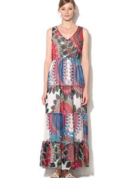 Rochie maxi multicolora cu mandale
