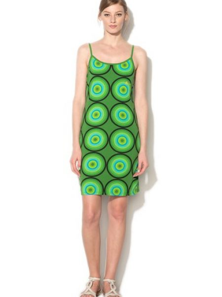 Rochie verde cu imprimeu frontal multicolor Emiliane