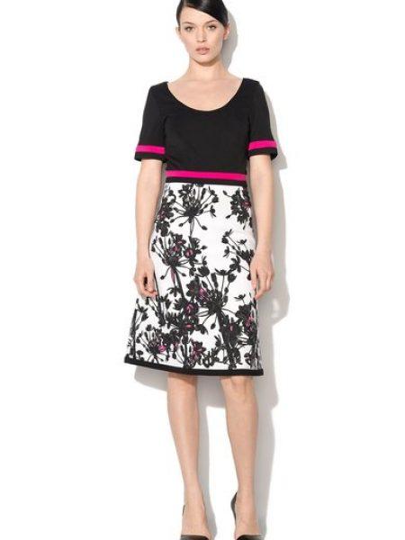 Rochie negru cu alb cu design floral