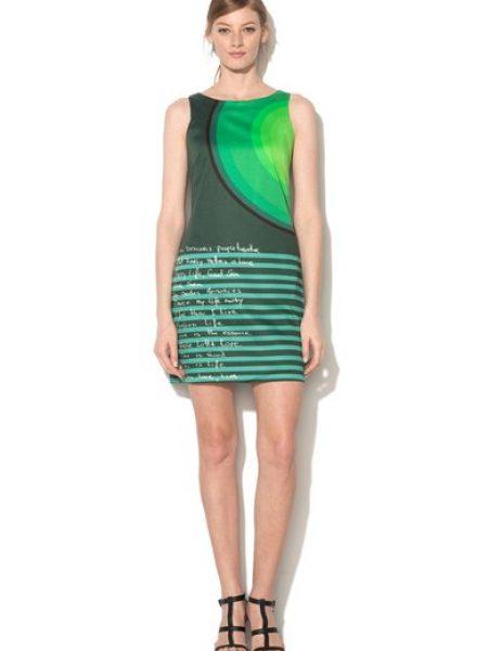 Rochie verde britanic cu imprimeuri variate Tipp