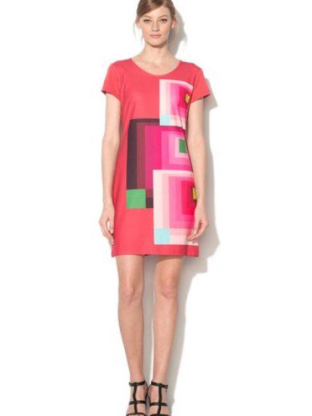 Rochie roz zmeuriu cu imprimeu geometric Dani
