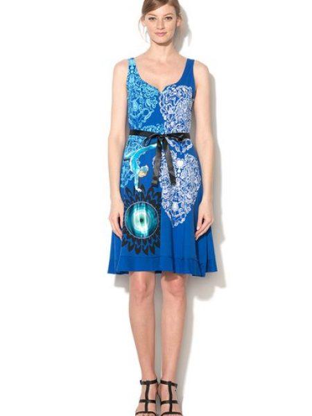 Rochie albastra cu imprimeu multicolor Yesica