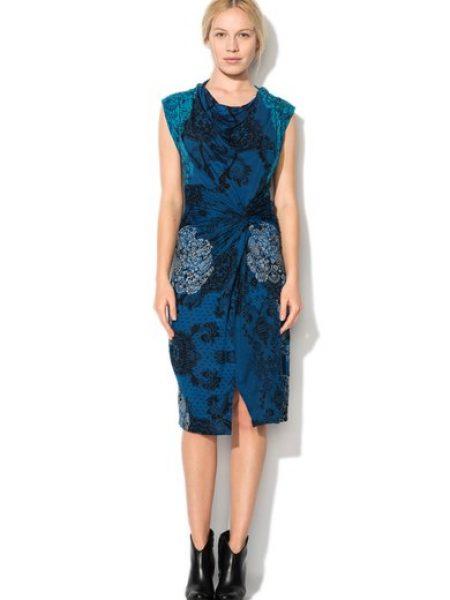 Rochie albastra cu imprimeu tip dantela Carol
