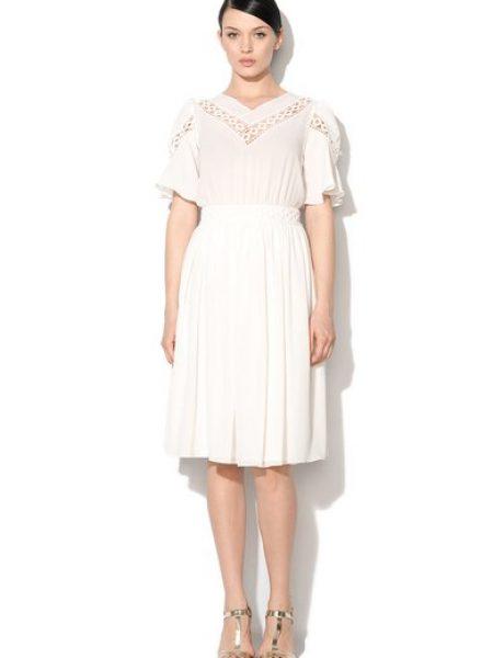 Rochie transparenta alb unt cu detalii crosetate