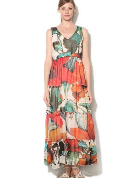 Rochie maxi multicolora cu imprimeu floral