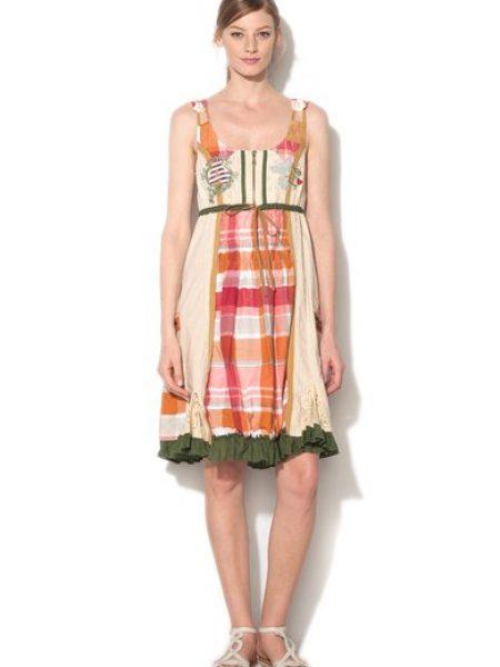 Rochie multicolora cu talie elastica si cordon Cloter