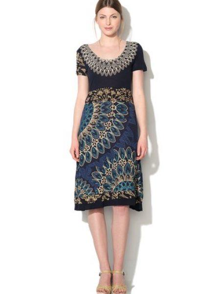 Rochie albastru inchis cu imprimeu floral Ara