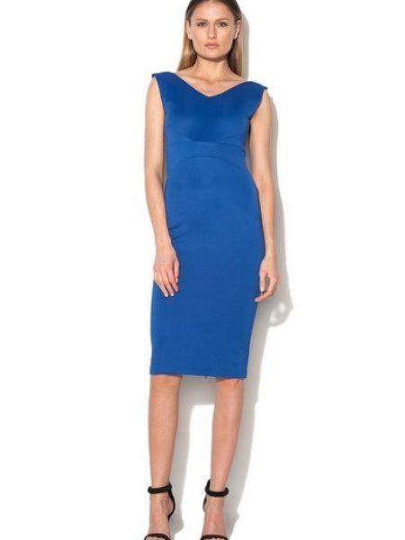 Rochie albastru royal cu buzunare
