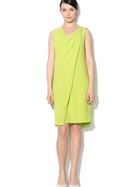 Rochie verde lime cu detaliu suprapus