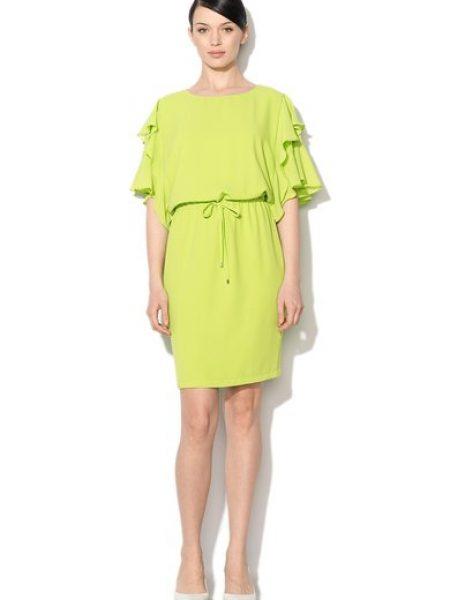Rochie verde lime cu maneci cu volan