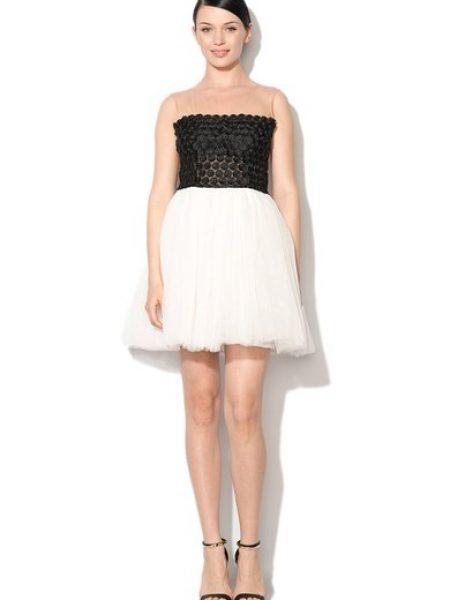 Rochie tutu negru cu alb cu broderie