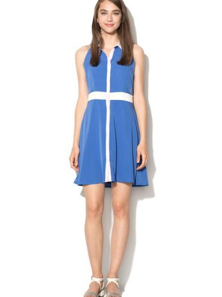 Rochie albastra cu nasturi Bregie