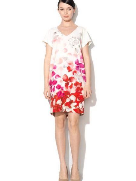Rochie alba cu imprimeu cu petale