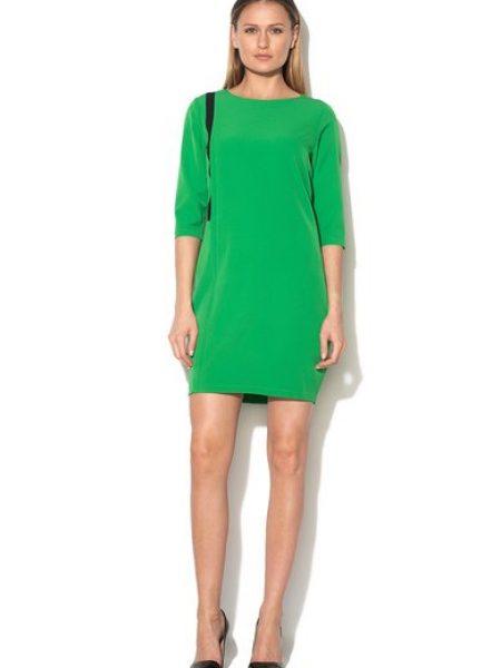 Rochie verde proaspat cu decolteu rotund