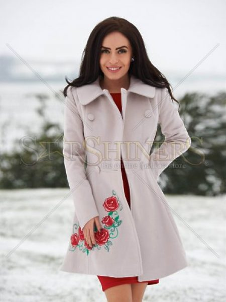 Palton StarShinerS Brodat Rose Desire Cream