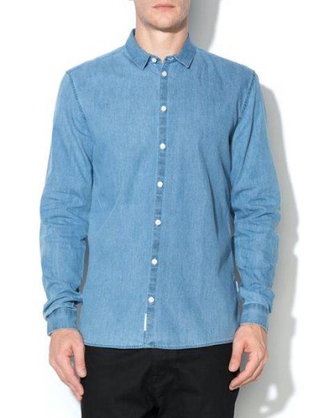 Camasa albastra din chambray Ossary