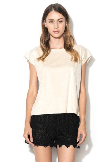 Bluza alb fildes din piele intoarsa sintetica Odette