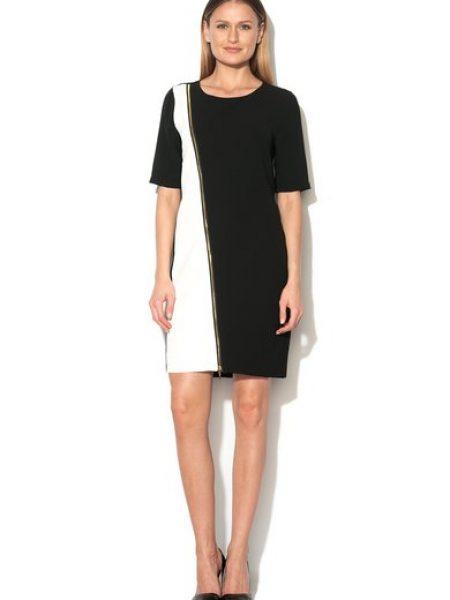 Rochie negru cu alb cu decolteu rotund