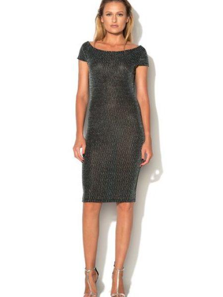 Rochie negru cu argintiu eleganta cambrata