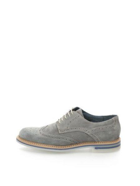 Pantofi brogue gri de piele intoarsa