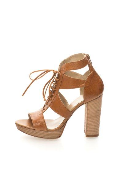Sandale maro scortisoara de piele cu platforma Costes