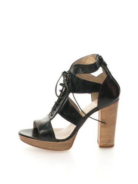 Sandale negre de piele cu platforma Costes