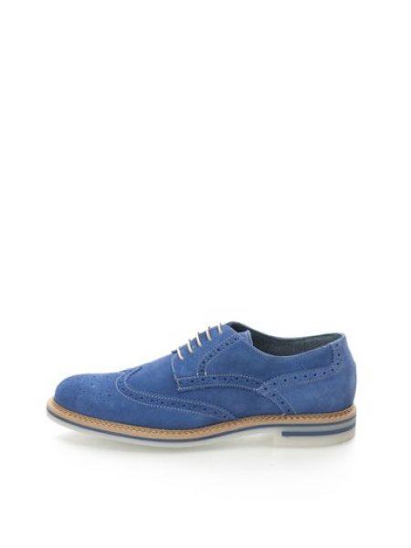 Pantofi Brogue albastri de piele intoarsa