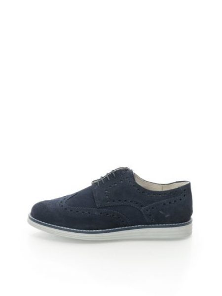 Pantofi brogue bleumarin de piele intoarsa