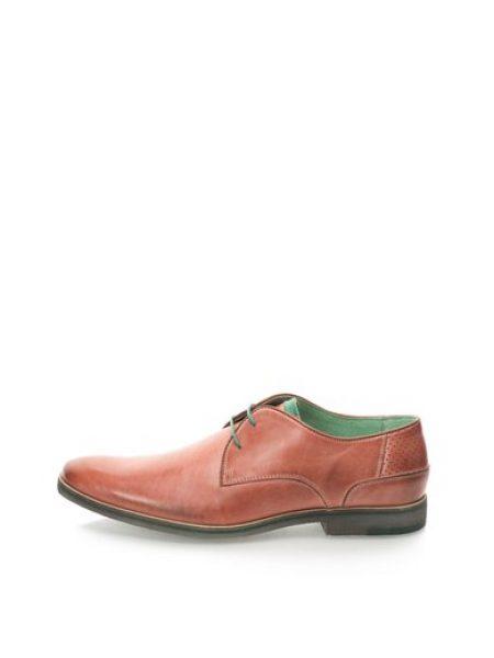 Pantofi Derby rosu prafuit de piele