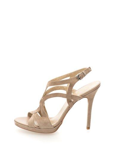 Sandale maro sepia de piele intoarsa cu toc inalt