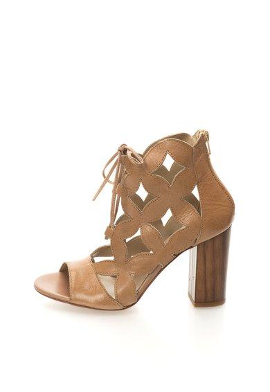 Sandale bej de piele cu siret Costes