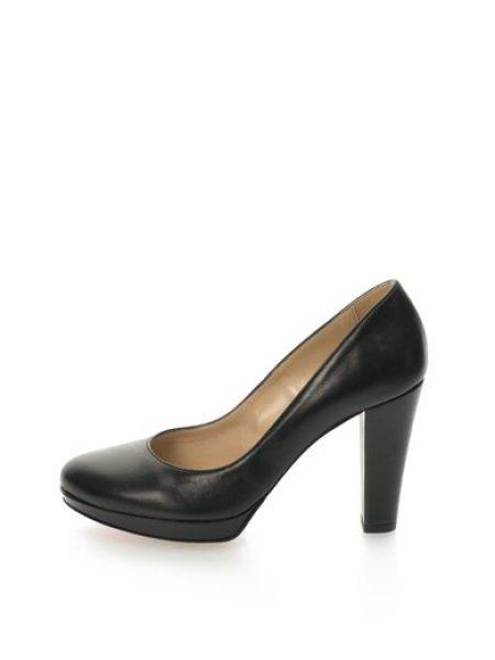 Pantofi negri de piele cu toc inalt Alaska