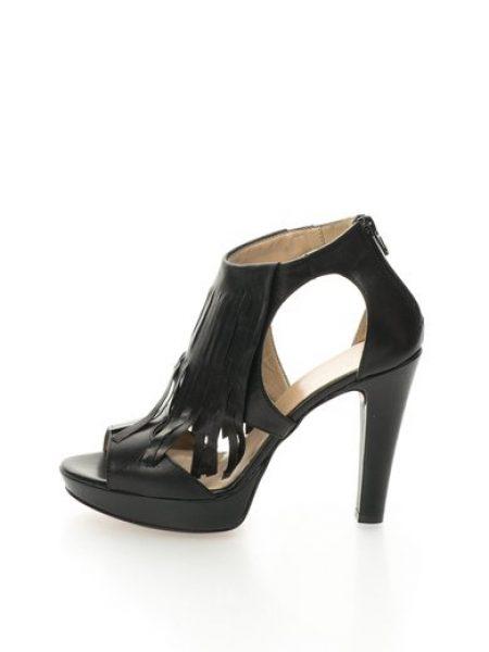 Sandale negre de piele cu franjuri Alaska