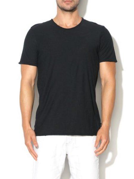 Tricou negru cu decolteu rotund Founding