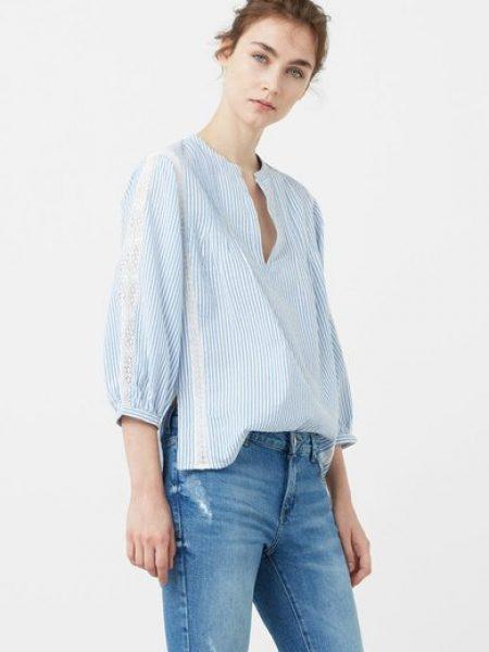 Bluza bleu tip tunica cu imprimeu in dungi Londra